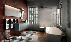 Ameublement salle de bain rustique, industriel et retro à la fois