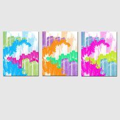 New York City Love - Set of Three 11 x 14 Coordinating Colorful Neon Prints a la Andy Warho