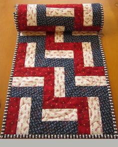 Quilted Table Runner Patriotic Red and Blue Stars Celebrate of July with this table runner for your table decor. A great piece to display with all your of July decorations. There are stars in all the fabrics. This table runner is 14 Patchwork Table Runner, Table Runner And Placemats, Quilted Table Runners, Quilted Table Runner Patterns, Blue Quilts, Small Quilts, Patchwork Patterns, Quilt Patterns, Denim Patchwork