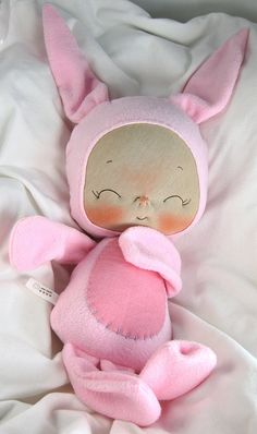 baby girl bunny for baby's first bunny in felt/fabric...NO patterns