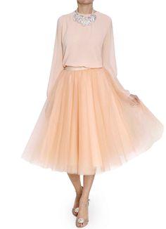 Falda de tul en color cuarzo con lazada beige  Bgo & me