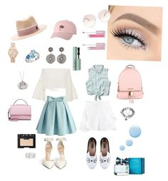 """""""Blue and White"""" by stolyarovasascha ❤ liked on Polyvore featuring Chicwish, Rosetta Getty, Abercrombie & Fitch, Karl Lagerfeld, MICHAEL Michael Kors, WithChic, Topshop, NARS Cosmetics, Too Faced Cosmetics and Tommy Hilfiger"""