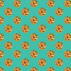 GOLD FLOWER MANDALA Small Dots TURQUOISE fabric by paysmage on Spoonflower - custom fabric