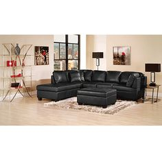 Zane 2 piece faux leather studio size sectional with right for Sofa bed brault et martineau