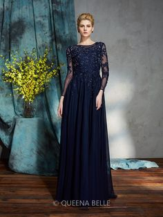 A-Line/Princess Scoop 3/4 Sleeves Applique Floor-Length Chiffon Mother Of The…