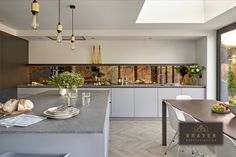 Take a look at the stylish open-plan kitchen and dining area we created for a home near Chobham in Surrey - a modern, minimalist kitchen design. Small Kitchen Sink, Small Farmhouse Kitchen, Open Plan Kitchen Dining, Kitchen Island With Seating, Stained Kitchen Cabinets, Contemporary Kitchen Cabinets, Rustic Kitchen Cabinets, Kitchen Cabinet Design, Concrete Kitchen