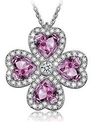 "J.NINA ""Lucky Meeting"" made with Purple SWAROVSKI ELEMENTS Clover Hollow Rotatable Design Heart Shape Women Pendant..."
