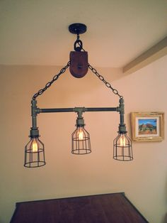 Hanging Industrial Pipe Pulley Light With 3 by DesertandIron, $295.00