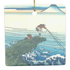 Kajikazawa in Kai Province Ceramic Ornament - ocean side nature waves freedom design