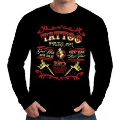 Velocitee Mens Long Sleeve T Shirt Tattoo Parlour Tattooist Rockabilly W17718 #Velocitee