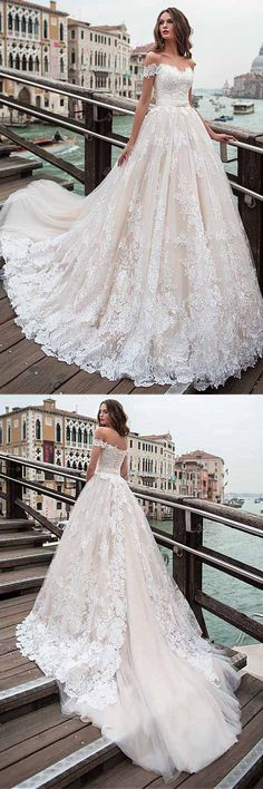 Off-the-shoulder Neckline A-line Wedding Dress With Lace Appliques WD232 #weddingdress #weddings #dress #pgmdress #lace #tulle