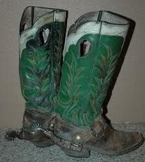 Green cowboy boots with spurs