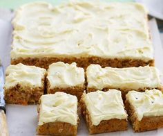 This version of the classic hummingbird slice by Woman& Day marries pineapple, carrot and pecans together beautifully. Top with passionfruit laced cream cheese for a delightful treat. Hummingbird Cake Recipes, Hummingbird Food, Baking Recipes, Dessert Recipes, Dessert Bars, Cake Bars, Party Desserts, Baking Ideas, Kitchen Recipes
