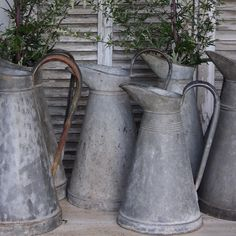"""Nothing screams """"Country French"""" louder than zinc pitchers. They look good on their own as an accent, hanging in a kitchen, as a flower vase, or as part of a collection. #pitchers #frenchcountry #countryliving #vintage #brocante #junkbonanza #junkbonanzasandiego #atelierdecampagne"""
