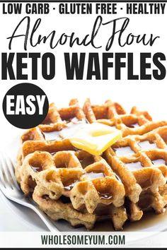 Mini Waffle Recipe, Waffle Recipes, Gf Recipes, Low Carb Recipes, Real Food Recipes, Cooking Recipes, Almond Flour Waffles, Paleo Waffles, Protein Waffles