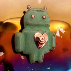 Geeky Valentine Gift - Android with heart brooch  in real Copper, handmade, shipped worldwide by DavidMeddingsDeSign on Etsy