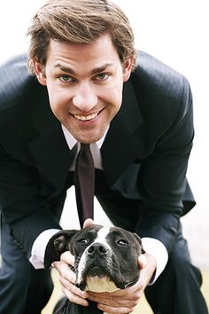 The dog is ugly but the John Krasinski is not.