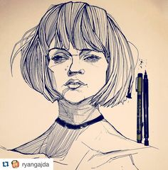 """#Repost @ryangajda with @repostapp. ・・・ Inktober Day 12: Portrait based on the photo Tangerine 12 by DeviantArt user @cathleentarawhiti. Went a bit off…"""