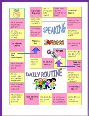 English worksheet: Speaking activity-Daily Routine -  Speaking board Game