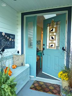 Front door on pinterest halloween porch halloween door and