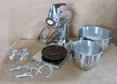 Sunbeam MixMaster vintage Stand & Hand Mixer stainless steel chrome set  #Sunbeam