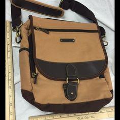 Crossbody messenger bag Eddie Bauer Canvas Crossbody messenger bag, brass hardware. Leather straps. Eddie Bauer Bags Crossbody Bags