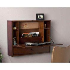 Wall Mount Laptop Desk - Brown Mahogany - Walmart.com