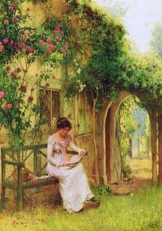 Affleck, William (b,1868)- Woman Reading on Garden Bench
