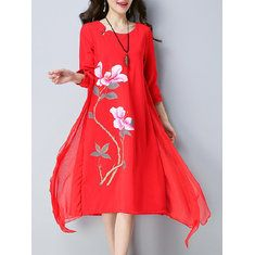 Vintage Printed Batwing Sleeve Irregular Hem Two Pieces Dresses For Women Shopping Online - NewChic Mobile.