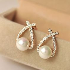 Pair of Faux Pearl and Rhinestone Earrings For Women (GOLDEN) | Sammydress.com