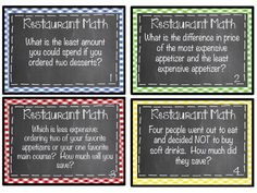 Restaurant Math: Task cards include problem solving questions using real restaurant menus