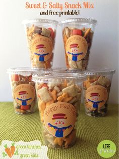 Sweet & Salty Snack Mix and Free Fall Printable from Green Lunches, Green Kids and Life of Verde's!