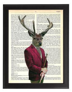 Deer in Smoking Jacket Vintage Animal by TopLondonPrints on Etsy