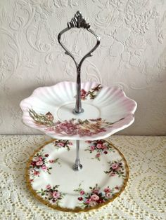 Pretty two tiered vintage cake stand, perfect for afternoon tea parties and weddings. £10.00, via Etsy.
