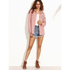 Pink Letter Print Shirt Jacket With Badge Detail ❤ liked on Polyvore featuring shirt jacket