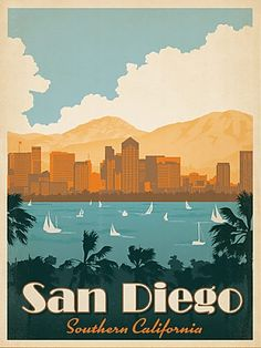 San Diego Southern California by Anderson Design Group Vintage Advertisement Wrapped on Canvas East Urban Home Size: 60 cm H x 40 cm W Poster Retro, Vintage Films, Vintage Prints, Vintage Style, Retro Vintage, San Diego Travel, Kunst Poster, California Dreamin', Vintage California