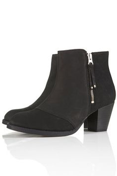Mighty Black Leather Zip Boots by Topshop