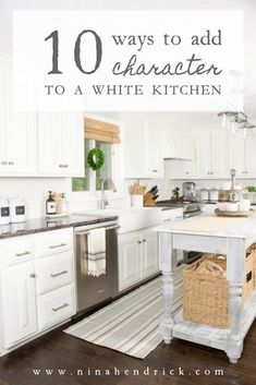 Over the past three years, we've been slowly and surely adding character to our blank-slate white painted farmhouse kitchen. Read on to see my tips and tricks for warming up the space including a striped runner from Annie Selke's Dash & Albert line! New Kitchen, Kitchen Dining, Kitchen Decor, Kitchen Cabinets, Kitchen Ideas, Kitchen Inspiration, Kitchen Board, Smart Kitchen, Island Kitchen