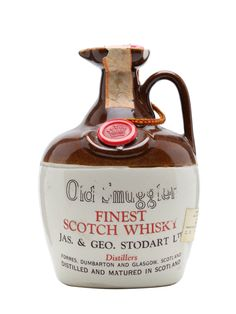 a ceramic decanter containing Old Smuggler Blended Scotch Whisky. The brand was established in 1835 and named after the smugglers who worked the Scottish Islands in that era. Cigars And Whiskey, Scotch Whiskey, Bourbon Whiskey, Whiskey Bottle, Old Bottles, Glass Bottles, Gin, Best Sparkling Wine, Strong Drinks