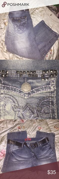Zanadi bling size 10 capris 💎💎 Bling zanadi size 10 capris from fashion bug. NWT belt is included. Offers welcome. Bundle and save more ❤️💎 Fashion Bug Jeans Ankle & Cropped