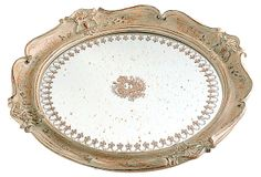 One Kings Lane - The Polished Vanity - Round Empire Mirrored Tray, Cream