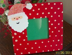 Items similar to Red Santa Claus Glitter Polka Dotted Photo Picture Frame on Etsy Christmas Picture Frames, Picture Frame Crafts, Photo Picture Frames, Christmas Pictures, Christmas 2017, Simple Christmas, Handmade Christmas, Christmas Crafts, Christmas Decorations