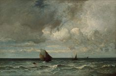 Jules Dupré French, 1811-1889, Barks Fleeing Before the Storm