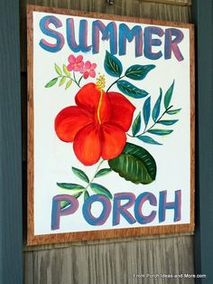 Sometimes everything you need you already have. Like this sign I painted. The fabric on our chair cushions inspired it. I already had the paint and paper. It's a cheerful spot on our summer porch. Front-Porch-Ideas-and-More.com