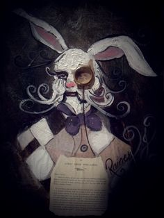 'Alice's White Rabbit' Original Painting by Rainey J Dillon (Sold) Alice White, White Rabbits, Original Paintings, Fantasy, Christmas Ornaments, Holiday Decor, Art, White Bunnies, Art Background