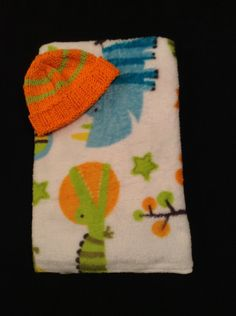 Ultra Soft Fleece Newborn Receiving Blanket and Knit Cotton Hat -- Animals by HandMadeInMadison on Etsy