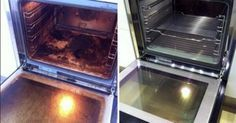 Cleaning an oven with water, baking soda, and vinegar - requires sitting overnight