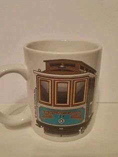 Lot of 2 San Francisco Collectible Coffee Cups Soup Cups Van Ness Ave. Trolley