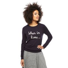 Whether at home or away, our playful navy When In Rome Jumper gives you permission to behave like the locals.