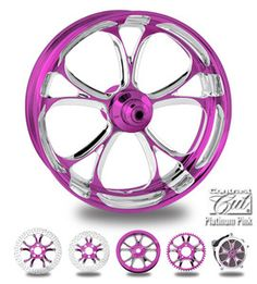"Custom color rims 21"" wheel package for harley pink & platinum"